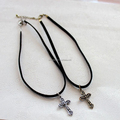 Black suede choker with antique metal cross charm choker