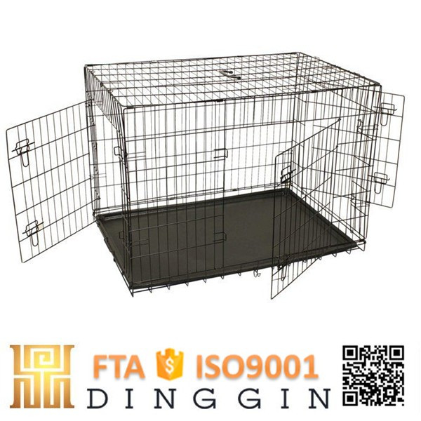 Three doors wire mesh dog crate