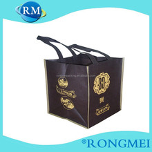 Custom cheap black color foldable non-wowen wine bags
