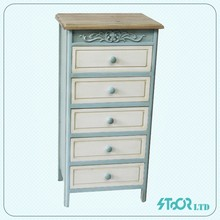 Cheap small white french style wood chest of drawer