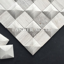lander stone gray wood marble mosaic 3D new design for walls