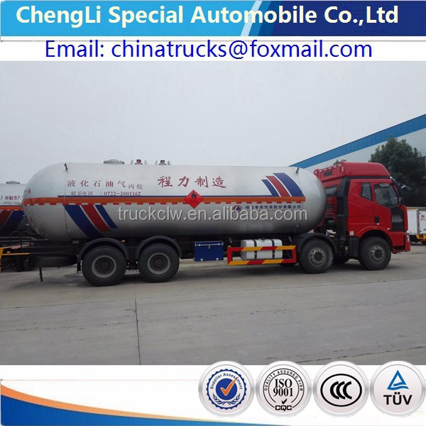 15 ton Faw LPG trucks 8X4 Faw heavy duty LPG 35cbm tanker trucks 12 WHEELS FAW used lpg road tanker