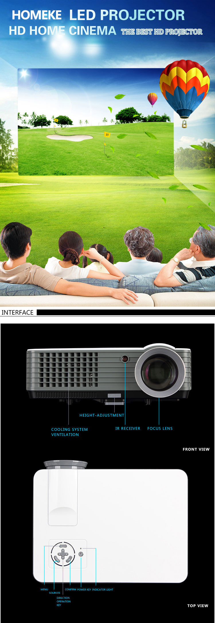 High Brightness HOME111 Led Projector 800*480 Android 4.2 Projector LED 3D Home Theater dlp uv projector
