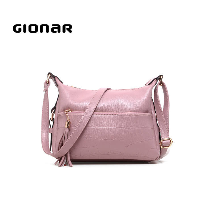 Woman PU nylon lining single shoulder designer bags leather handbags crossbody large across body bag
