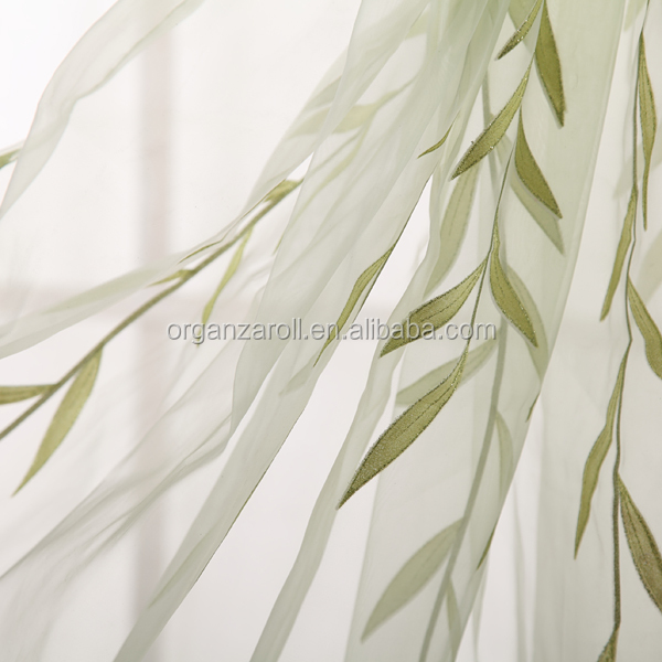 beautiful green leaf flocking polyester flocking organza curtain for living room