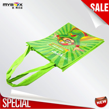 verde green superman PP nonwoven bag with glossy lammination