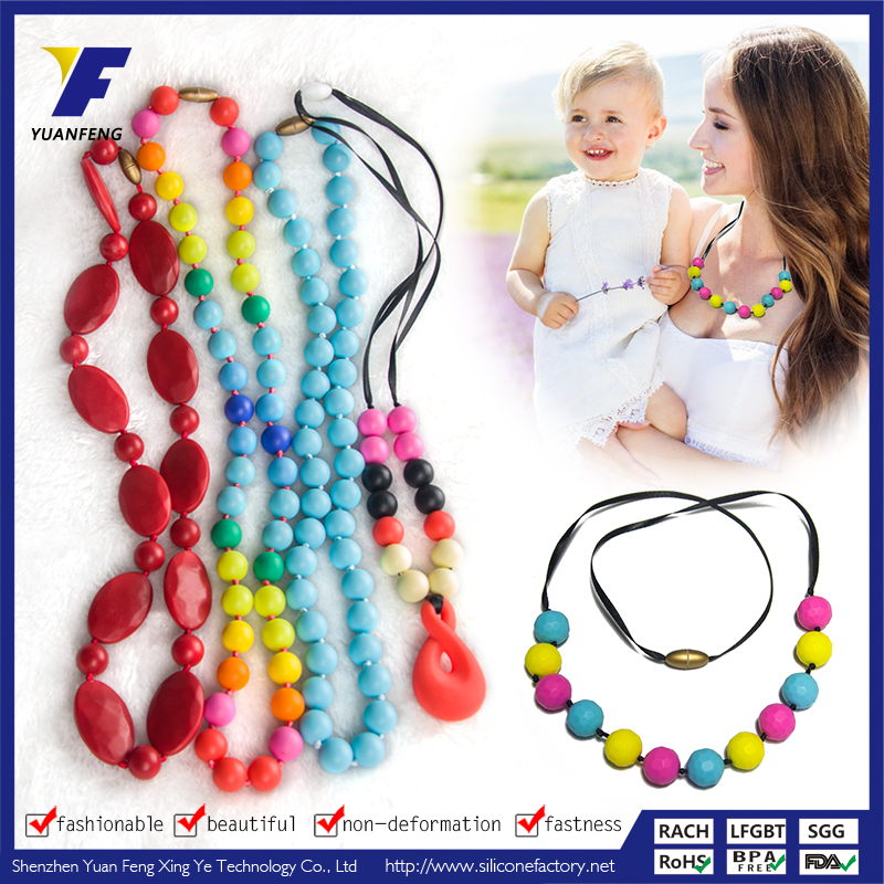 Wholesale Food Grade Silicone Teething Baby String Necklace