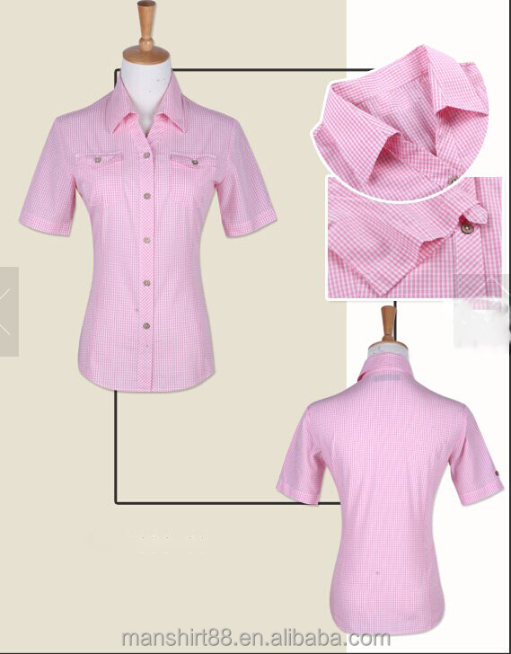 2017 short sleeve slim fit pink blouse/lady shirts