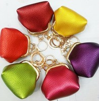 MCH025 12pcs/lot CUTE LEATHER BAG KEY CHAIN, WITH COIN PURSE/ KEY HOLDER Hot Ali Express Merchandise