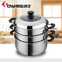 Three layered induction food steamer with stainless steel