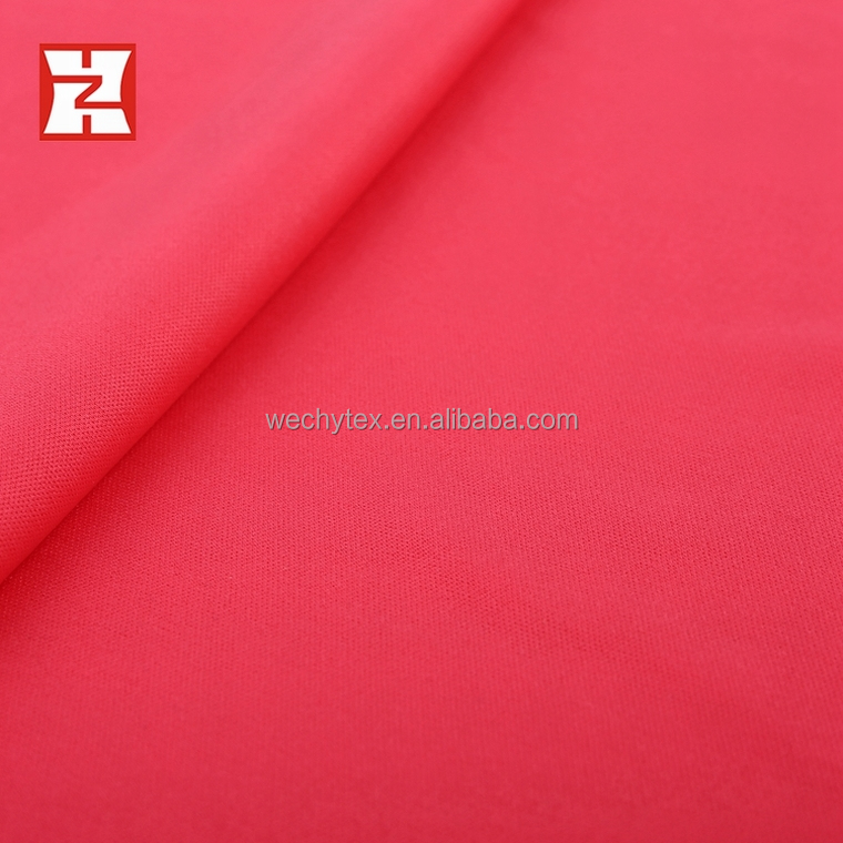 polyester cationic interlock knitted fabric, plain dyed 100 polyester dress lining fabric