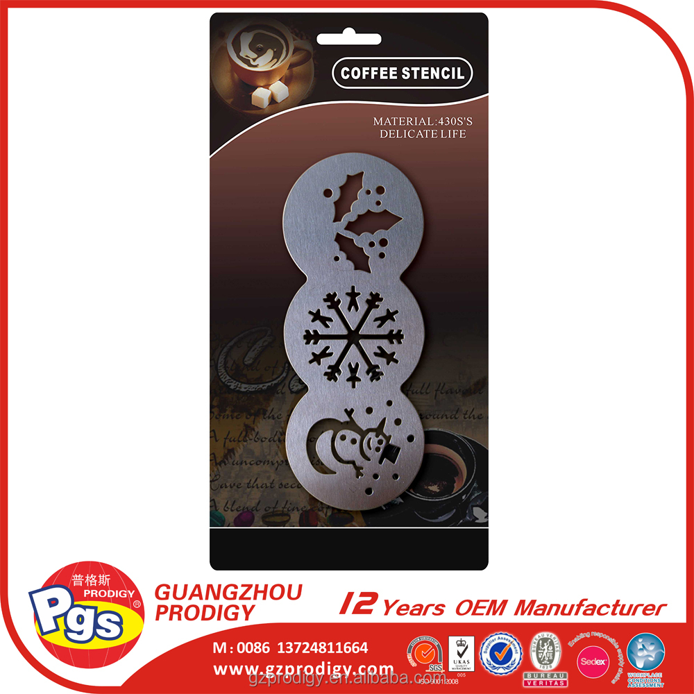stainless steel assorted coffee stencil cappuccino stencil