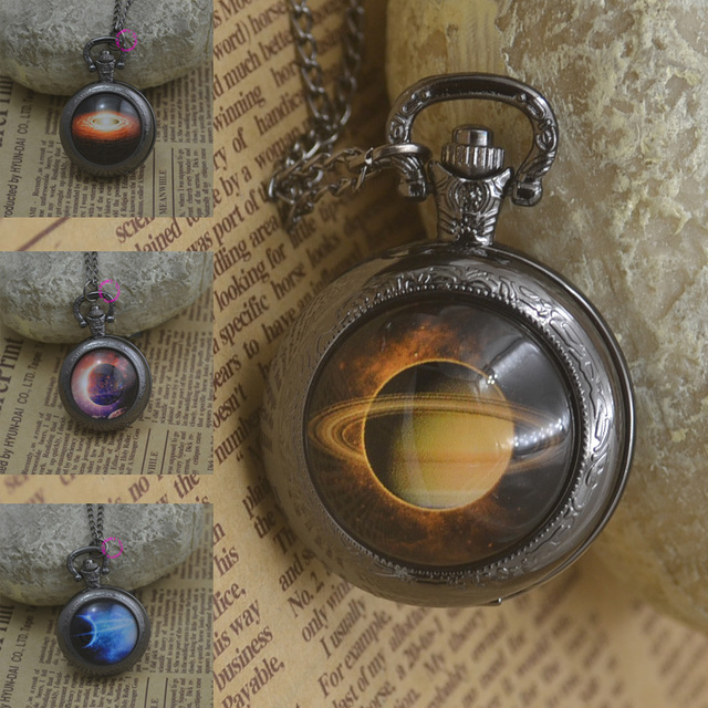 fashion planet galaxy jupiter pocket watch necklace woman fob watches astronomical black round Convex lens glass picture girl