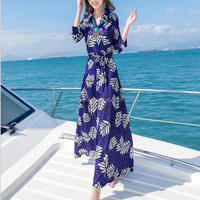 DEMIZXX686 Wholesale Custom Floral Color Long Sleeves Furcal Design Women Chiffon Long Summer Beach Cocktail Party Dresses