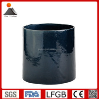 New Products Fabric finish high glossy navy blue round ceramic flower pots, ceramic planter pots