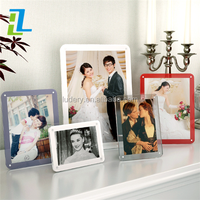 Square acrylic photo frame 5x7 / Natural wood shadow boxes with acrylic