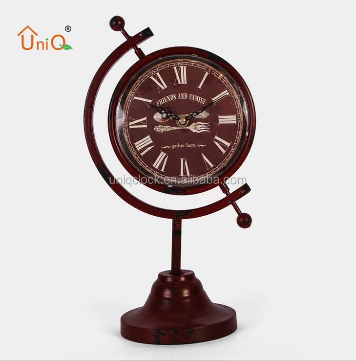 metal table desk world small globe clock