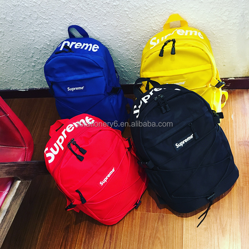 Fashionable unisex superme fluorescence Canvas School Bag Backpack Canvas Zip Backpack School College Laptop Bag