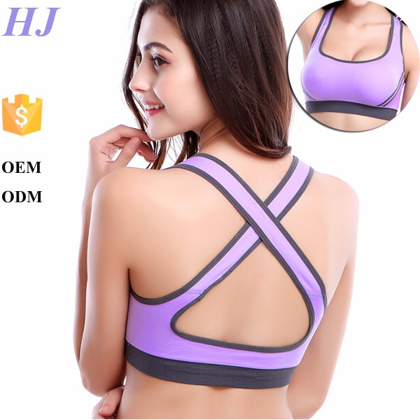 shockproof no rims breathable sports cross bra with quick-drying mesh cloth