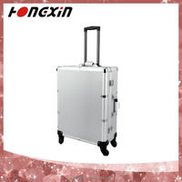 aluminum silver cosmetic girl gift set makeup case with stand and light