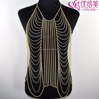 Full Body Chain Dress Necklace Gold Harness Body Jewelry Make Costume Jewelry Necklaces YMBD1-210