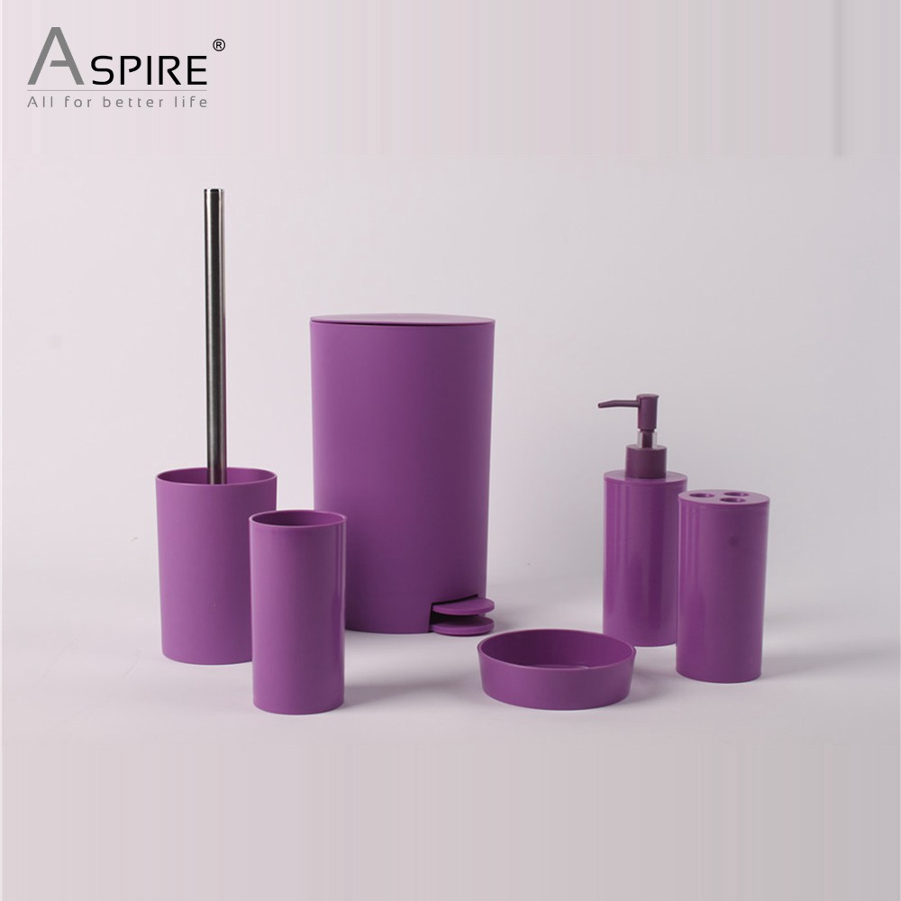 Solid Purple Houseware Plastic Bathroom Set