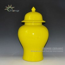 High Temperature Fired Large Ceramic Yellow Paint Storage Jars ginger jars