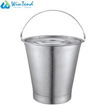 Stackable silver color metal pail bucket with bottom base for hotel