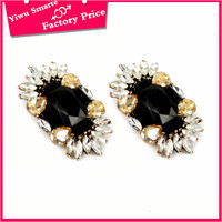 Lowe price custom elegant women' fashion color change gold jhumka stud earrings with black stone