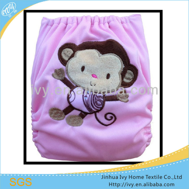 applique embroidery cloth healthy baby diaper/monkey
