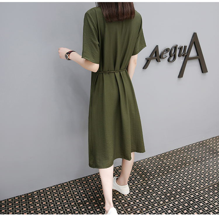 2017 newest V neck casual frock designs dress half sleeve plus size women clothes rope bandage waist