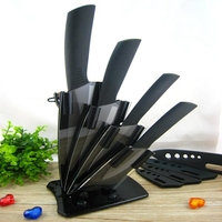 Hot Sale 5 PCS Black Blade Ceramic Knife Set With Acrylic Knife Holder Kitchen Knives 3 4 5 6 + Peeler + Holder kitchenware