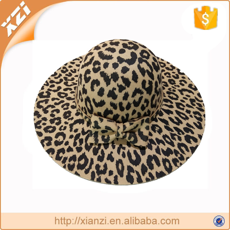 Elegant church wedding dress derby Hat floppy wide brim animal print Sunday hat