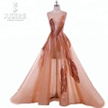Luxury See-Through Soft Tulle Handmade Beading Evening Dress