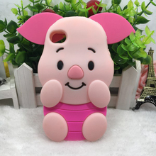 OEM hot selling cute pink pig silicone mobile phone cover for iphone 5 6