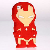 new arrival for iphone 4 case cool cartoon 3D ironman soft silicone case
