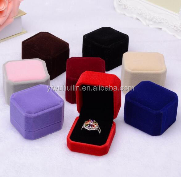 MN013 Engagement Colored Velvet Ring Box Jewelry Display Storage Foldable Case For Wedding Ring Valentine's Day Gift