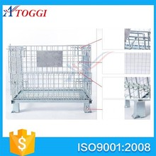 folding rigid wire mesh container storage cage