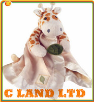 Baby Giraffe Blanket Plush Rattle Lovie with Crinkle Leaf-Brown