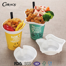 Creative disposable PS plastic cup top snack tray