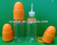 10ml Plastic and Glass E cig juice e liquid bottles with childproof cap and 1.5cm long tip