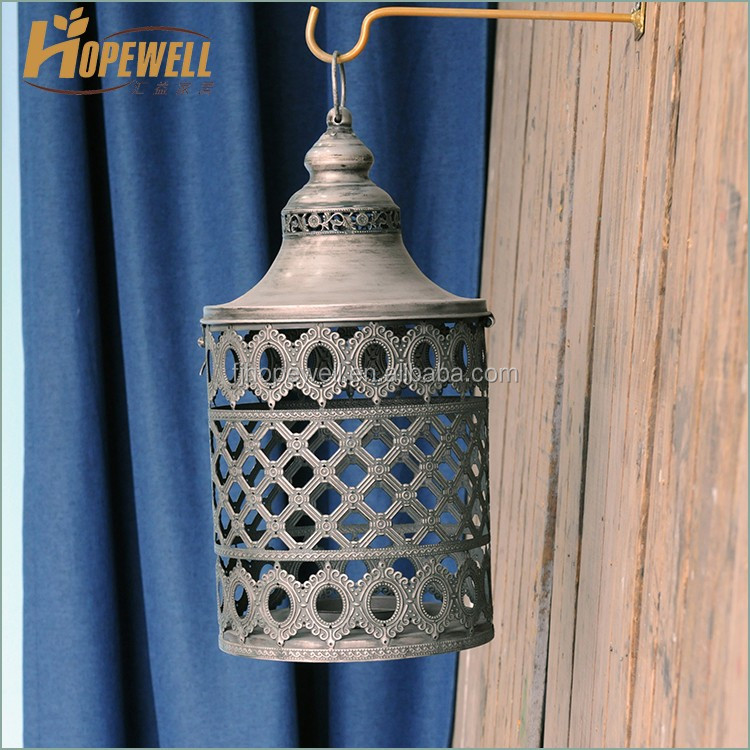 antique wrought iron lantern , turkish weld candle lantern