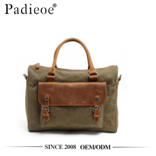 Padieoe PDA414-M leather rolled handle canvas tote bag laptop briefcase