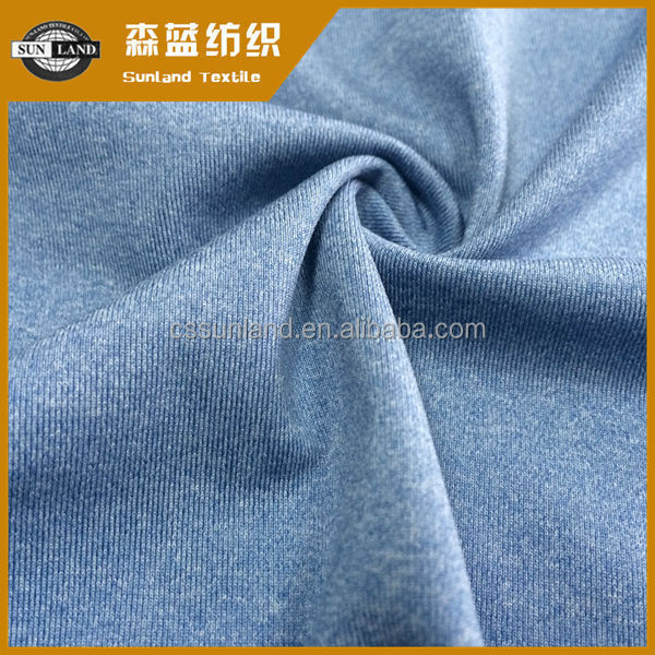 Knitted cation polyester spandex jersey fabric undershirt clothing hot in 2017