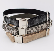 Pet Train Products Handmade Leopard Leather Pet Collars for Dogs and Cats