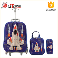 3 PCS Trolley School bag kids wheeled warcraft picture Blue Rocket TRAVEL TROLLEY BAG for children