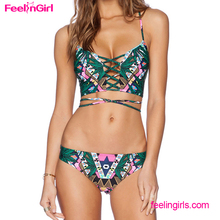 Printed Palm Leaf Latest Fashion Hot Brazil Young Girl Sexy Bikinis