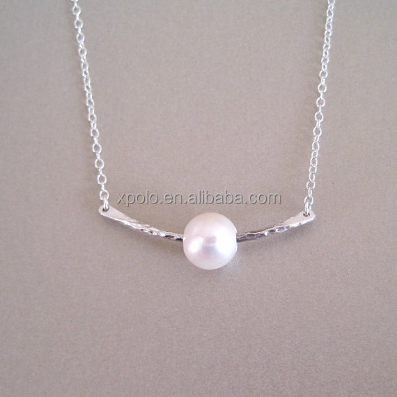 Fashion Hot saling Silver Hammered Bar Necklace with Pearl Jewelry