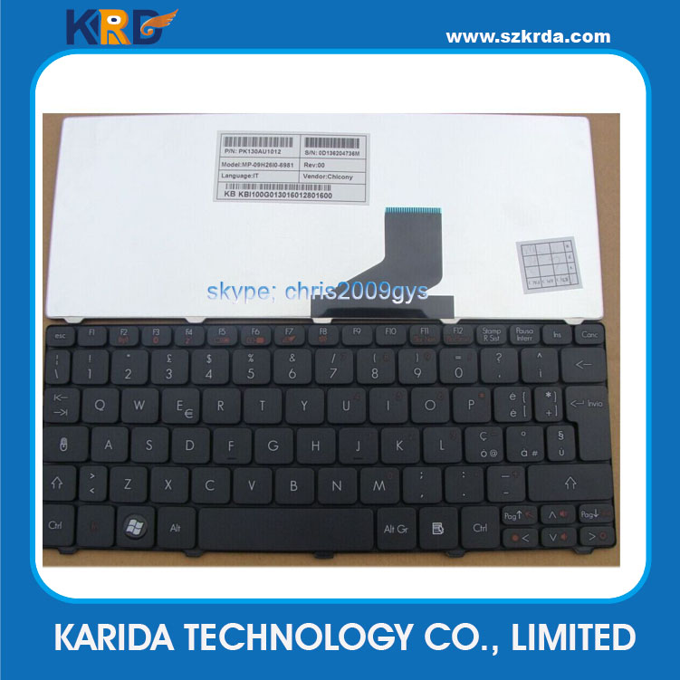 Brand new Laptop Keyboard for Acer One 532H 521 PAV70 D255 D260 D257 ZE6 EM350 keyboard Layout IT US SP