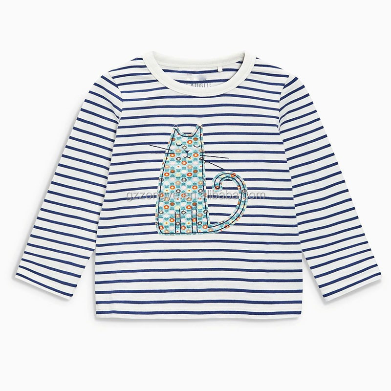 Yarn Dyed Cotton Blue Cat Long Sleeve kids t-shirt model wholesale Three Pack